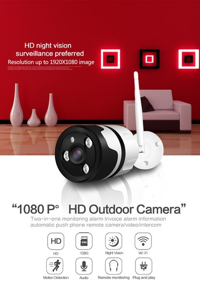 2MP 1080P Outdoor WIFI IP Camera Infrared Night Vision Wireless security camera metal two way audio TF card record P2P bullet