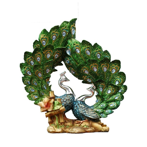 Home Decor Modern Peacock Figurines Bedroom Porch Furnishings Personalized Resin Oranment Craft Birthday Gift