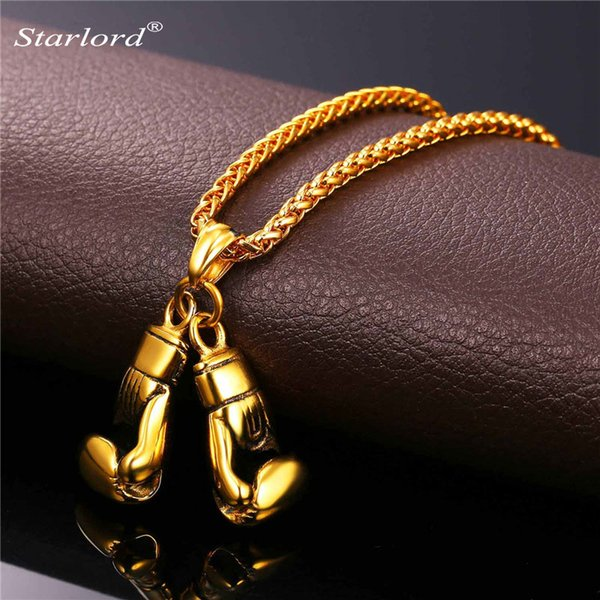 ports jewelry Golden Boxing Glove Pendant Charm Necklace Sport Jewelry 316L Stainless Steel Yellow Gold/Silver Color Chain For Men New GP...