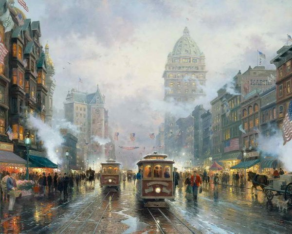 San Francisco Market Street Thomas Kinkade Oil Paintings Art Wall Modern HD Print On Canvas Home Decoration No Frame