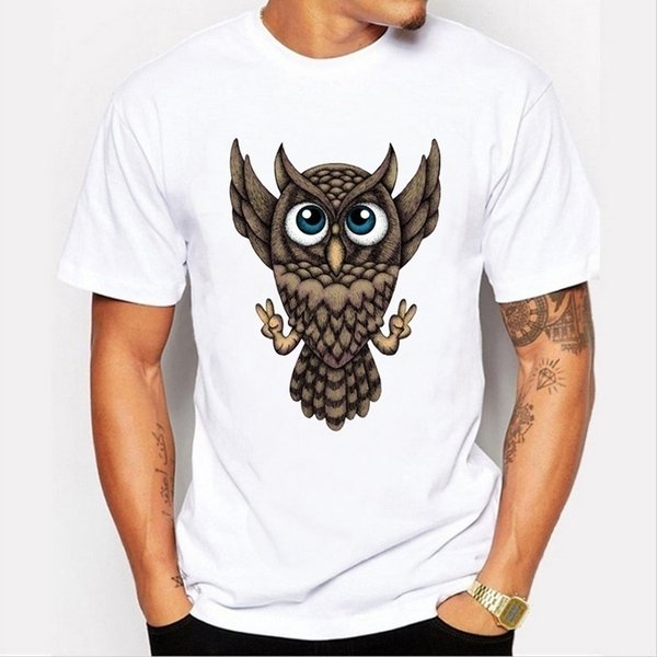 The new high-quality summer fashion cute owl patter printing casual loose short-sleeved white men's T-shirt
