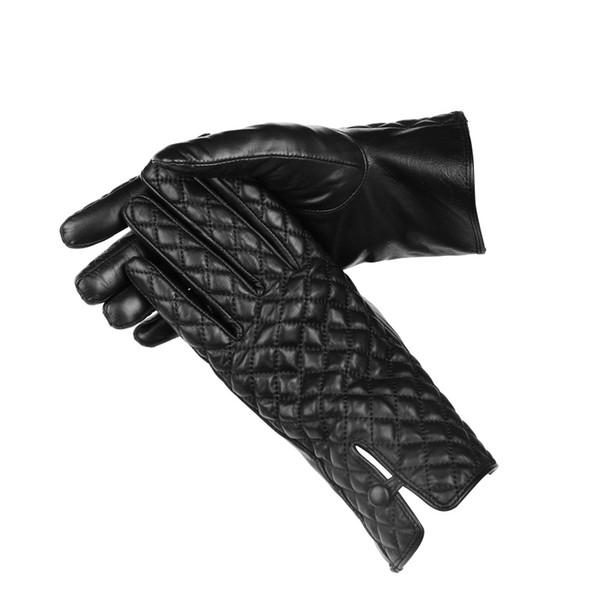 designer fashion winter women gloves genuine leather touch screen glove made of Italian imported sheepskin mitten tartan