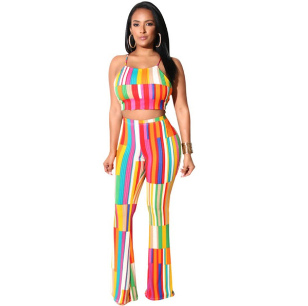 255742c007f6 sexy two piece set top and pants summer women clothing set crop top ladies  tracksuits beach outfit suit flare pants S2