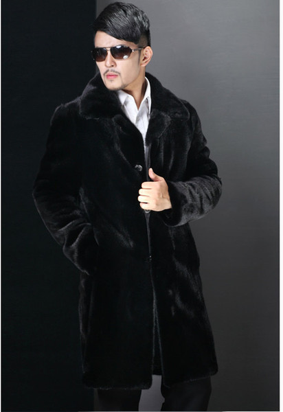 S-6XL winter jacket Long warm jacket men's clothing imitation fur coat Plus size casual all-match overcoat turn-down collar outerwear