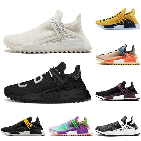 Human race Hu trail x pharrell williams Nerd men running shoes Chalk Coral Holi Blank Canvas pale nude mens trainers women sports sneaker