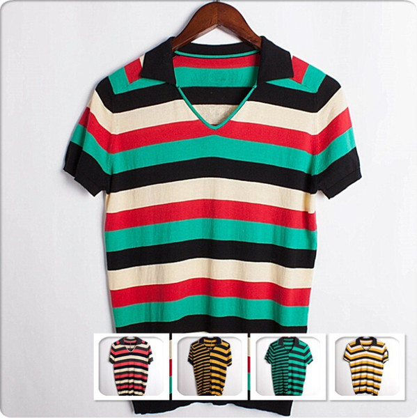 Short Sleeved Men's T-Shirt NEW Stripes Lapel Neck T-shirt Men Cotton Casual Sweaters