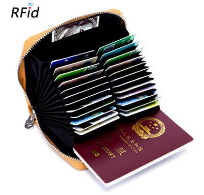 wholesale Genuine Leather Organizer Business RFID Credit Card Holder Cowhide Minimalist Women Travel Card Bag Men Small Wallet