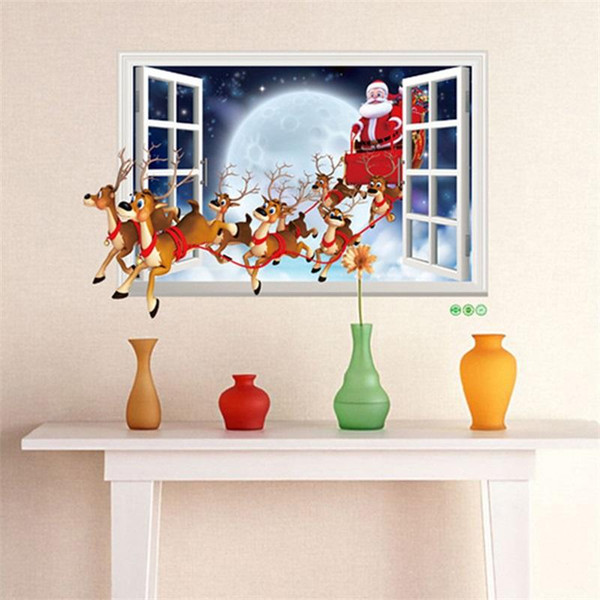 New Creative Designer Santa Claus Deer Car Removable Sticker False Window Paper 3D Christmas Style Wall Stickers Home Decor 4lx aa