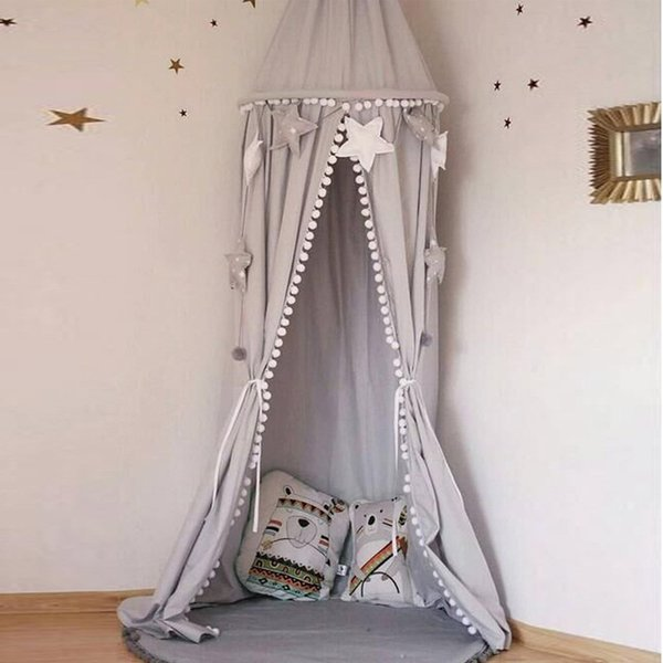 Dome Hanging Cotton Bed Canopy Mosquito Net Curtain For Hammock Baby Kids Bed valance Nordic Style Round Baby Mosquito Net
