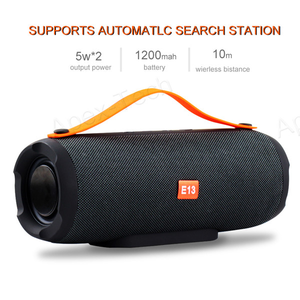 top popular E13 Mini Portable Wireless Bluetooth Speaker Stereo Speakerphone Radio Music Subwoofer Column Speakers for Computer with TF FM 2019