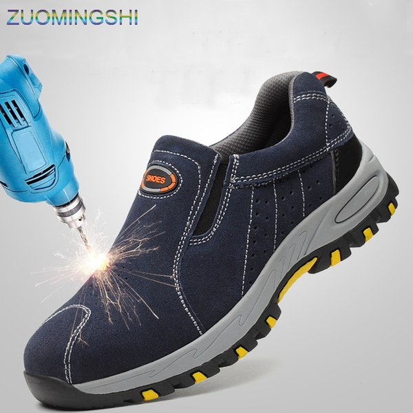 2019 Steel Toe Safety boots men Work Shoes Men work boots Breathable Slip On Casual Boots Mens Labor Insurance Puncture Proof Shoe Sneakers