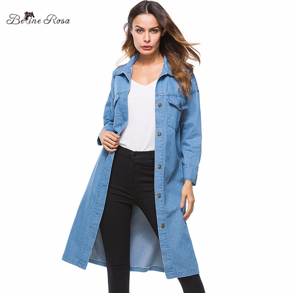 b270e04ec1b BelineRosa 2018 European Style Casual Hot Sale Long Denim Trench One Size  Wide-waisted Autumn Women Denim Coats OST00035
