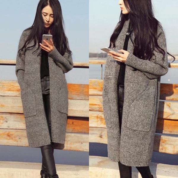 Kadın Kazak Hırka 2018 Sonbahar Kış Moda Casual Kalın Örgü Hırka Kazak Büyük Cep Kadın Uzun Coat Ile