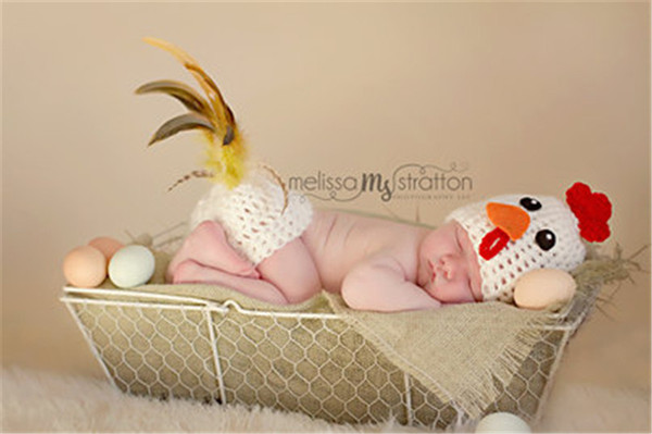 Crochet Chicken Hat Butt Cover Set Knitted Infant Baby Chicken Outfits Newborn BABY Photo Photography Props