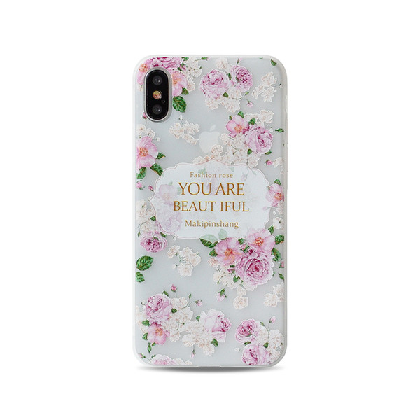 Fashion Apple iphone X cases iphone 7 8 plus 6S shell TUP silicone 15 colors drawing case landscape