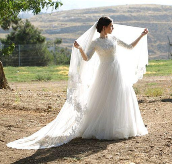 Muslim Tulle Garden Lace 3/4 Long Sleeve A Line Wedding Dress White Princess Bridal Gowns Draped Appliques Custom Made Modern Beautiful
