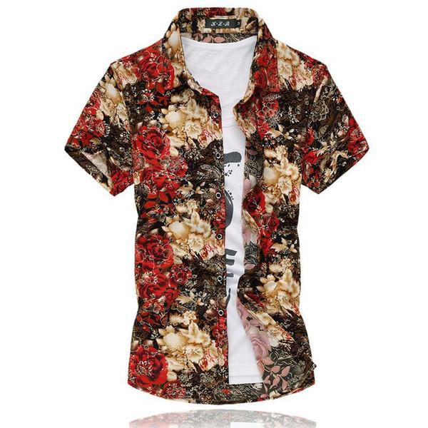 Shirt Good quality M-7XL golden floral print shirt men short sleeve casual men shirt silk cotton 2018 summer camisas hombre