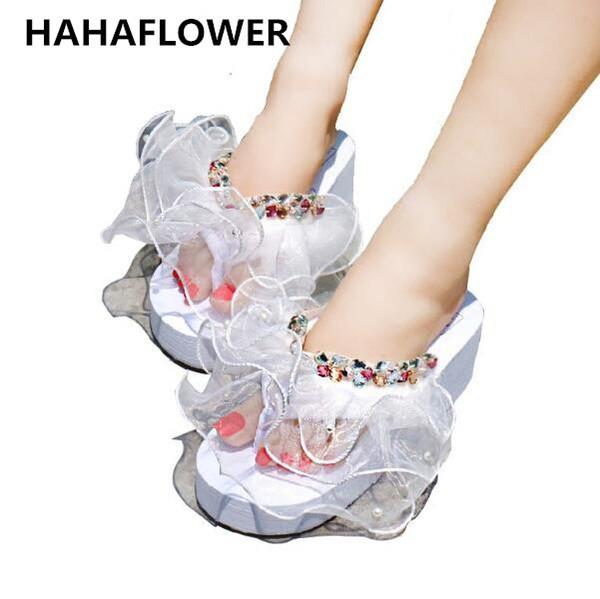 wholesale European summer wedge platform Women Shoes Crystal Lace Princess Diamond Pearl Ladies Indoor Home Slippers