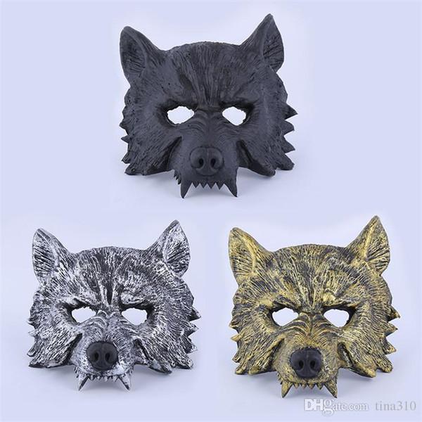 Atacado Máscara De Borracha Creepy Masquerade Halloween Chrismas Partido de Páscoa Traje Cosplay Teatro Prop Cinza Lobisomem Lobo Máscara Facial IB383