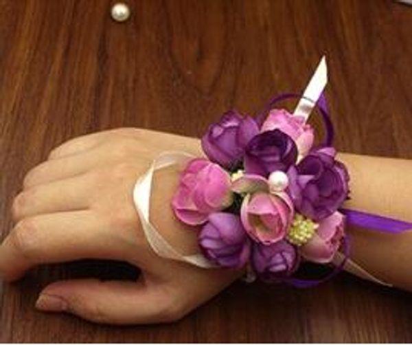 10pcs / lot Düğün Dekoratif Bilek El Çiçekleri Gelin Nedimeler Bilek Corsages Damat Corsages boutonniere Düğün Aksesuarları