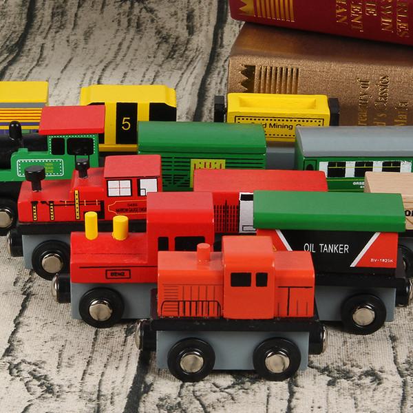 Jouet modèle de voiture en bois, Trains magnétiques éducatifs, Multi-couleurs, Simulation en hauteur, Cadeaux de fête pour enfant 'Anniversaire', Collections, Décorations pour la maison