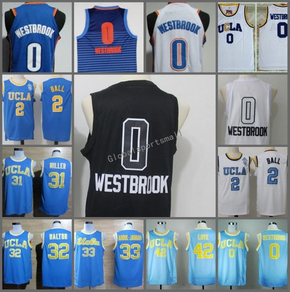 New UCLA Bruins Russell Westbrook College Jerseys Kevin Love Abdul Jabbar Reggie Miller Lonzo Ball Bill Walton Men Sportwear Jersey Discount