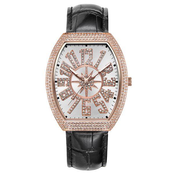 Vintage Ladies Watch Rose Gold Quartz Watch Woman Dress Full Diamond Waterproof Female Table Brand Luxury Clock Large Dial