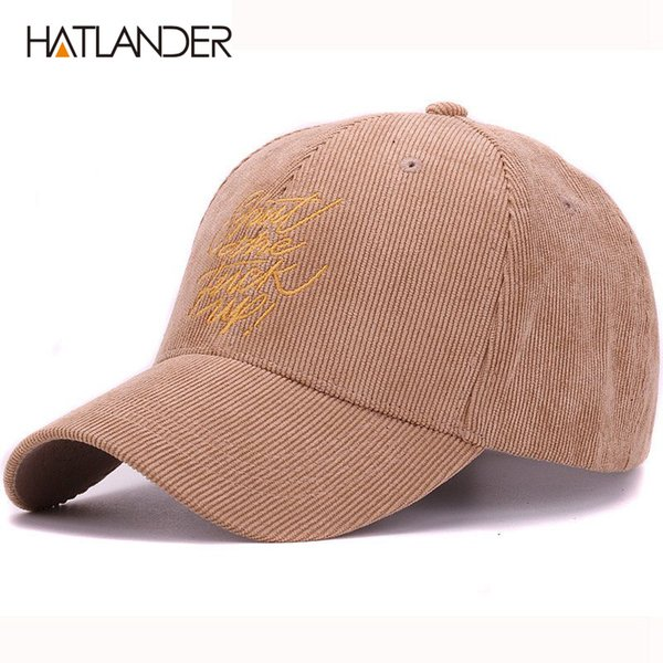 00ae93bc9e12d HATLANDER quality corduroy fabric baseball cap small embroidery fk Pop hat  for men and women