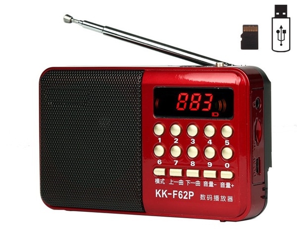 Pocket Radio FM Radio Receiver Mini Portable Rechargeable Receiver Speaker Support USB TF Card Music MP3 Player