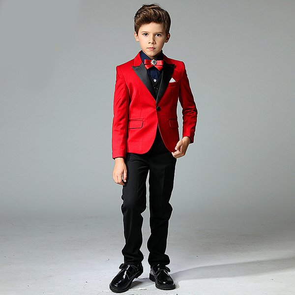 Menino vermelho bonito terno menino moda terno de três peças terno (jaqueta + calça + colete) boy prom party formal dress