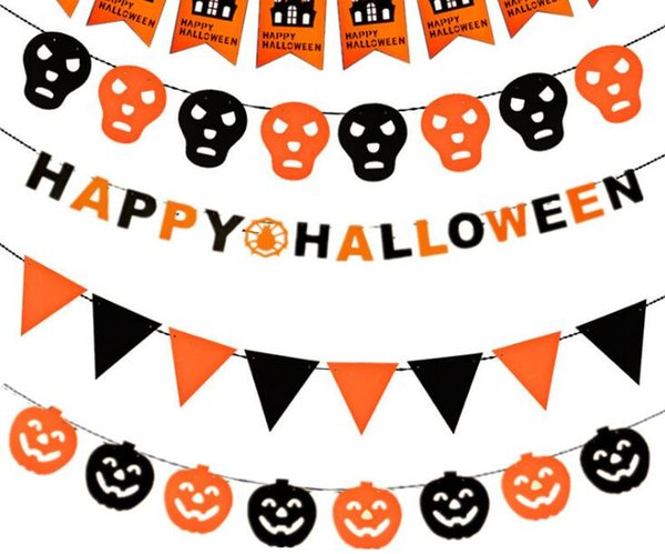 Halloween Banner Bandiere FAI DA TE Decorazioni di Halloween Ghirlande Pull Bandiere Zucche Spider Bat Witch Vampire Party Decor