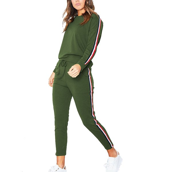 Army Green Tracksuit Overalls Winter 2018 Fashion Striped Casual Jumpsuit Women 2 Pieces Set Tops and Pants Female Skinny Romper
