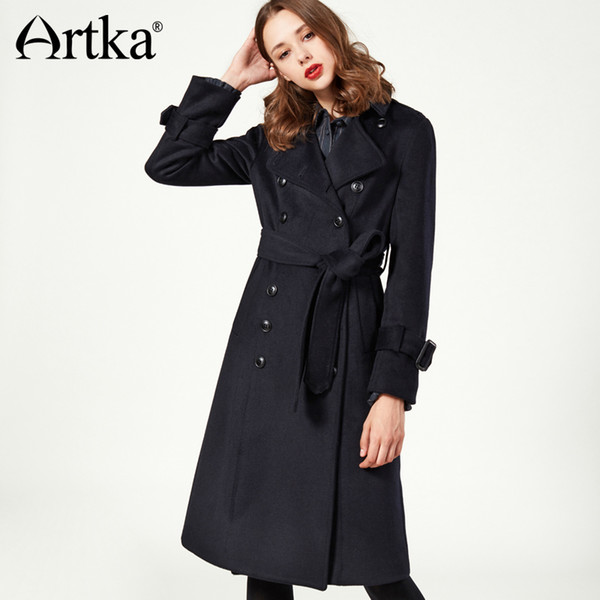 ARTKA 2018 Autumn&Winter Elegant Adjustable Waist Belt Wool Contained Extra Long Coat with Sash FA10273D D18110702