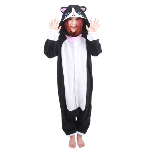 Unisex Adult Black Cat Pajamas Cute Cartoon Pyjamas Suit Nightdress Women's Onesies Fleece Animal Winter Warm Hooded Sleepwear cosplay