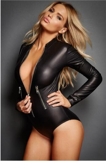 XXL Sexy Bodysuits Erotic Leotard Pole Dance Lingerie Cat Women Lady Black PU Leather Catsuit Latex Jumpsuit Costumes