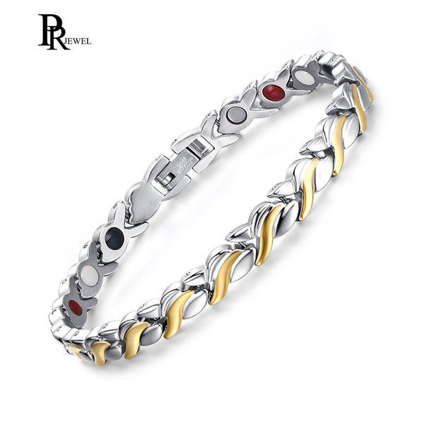 Élégant Womens Titanium Magnetic Therapy Bracelet 4 en 1 Power Hand Chain En Acier Inoxydable Femme Cadeau dropshipping