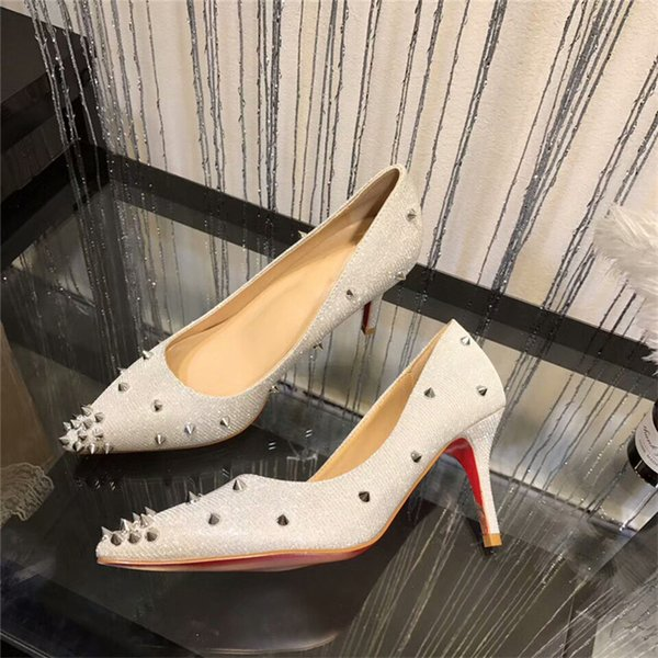 Red Bottom Sneakers Pointed Toe Studded Spikes Rivets Crystal Women Wedding  Shoes High-Heeled Shoes Luxury Brand Paris Designer Pumps 39n 79c3612d49ff