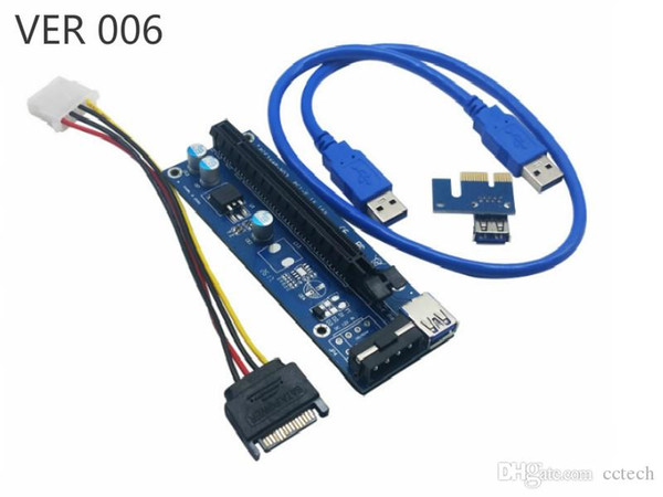 PCI-E Ver 006 006C 007S 008C 008S 009S Ver006C Ver008C Ver009S PCIe Express Riser Card 1x to 16x SATA USB 3.0 Cable For BTC Bitcoin Miner