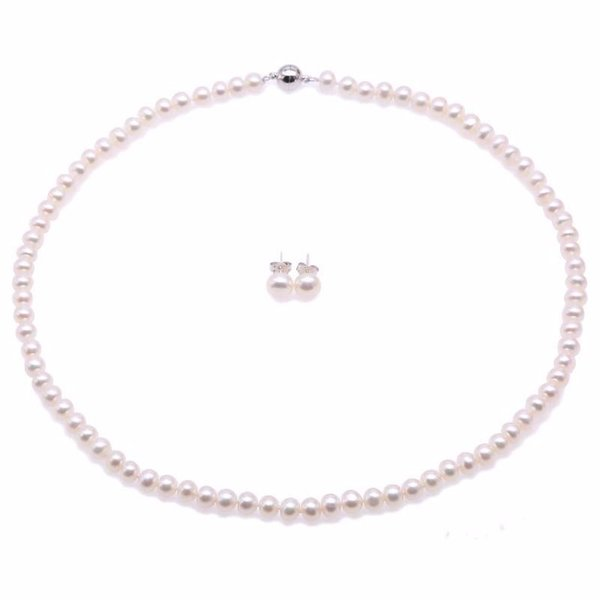"""White Akoya Cultured Pearl Necklace 18"""" + Earring Set For Women Jewelry Set Colar perle collier et boucle d'oreille ensemble"""