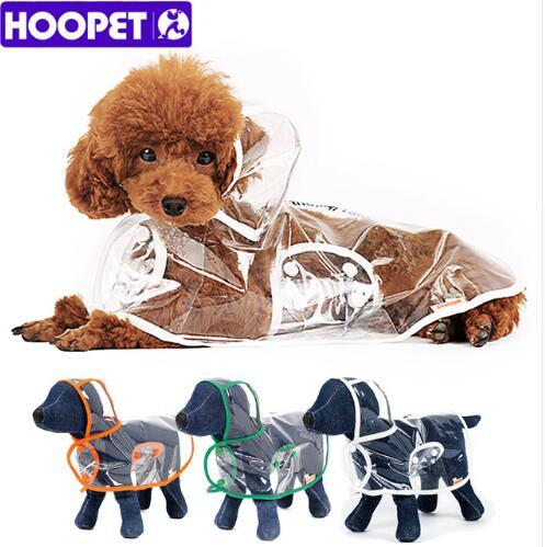 HOOPET Dog Raincoat Waterproof Clothes Transparent Raincoat Light Clothes Waterproof Beautiful Small Dog Raincoat with Hood Top Quality