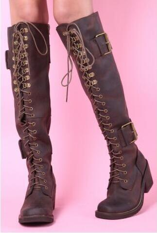 Top Quality Brown Lace Up Women Winter Boots Square Toe Knee High Riding Boots Chunky High Heels Ladies Boots With Buckle
