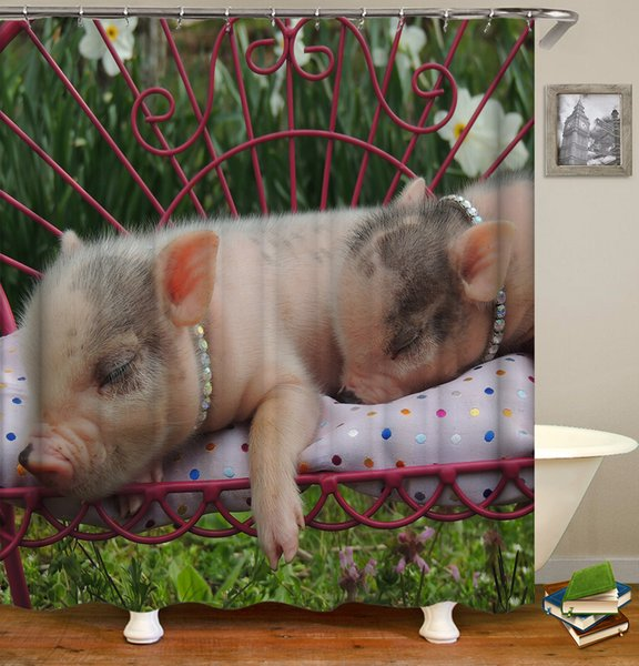 Waterproof Cute Sleeping Funny Pigs Pattern Designed Digital Printing Bathroom Shower Window Curtain with Hooks 71x71inch