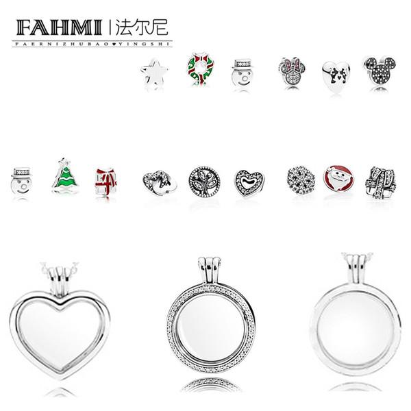 FAHMI 100% 925 cuentas de collar de caja del anillo de plata esterlina encanto mágico joyería navidad exquisito temperamento manera de las señoras