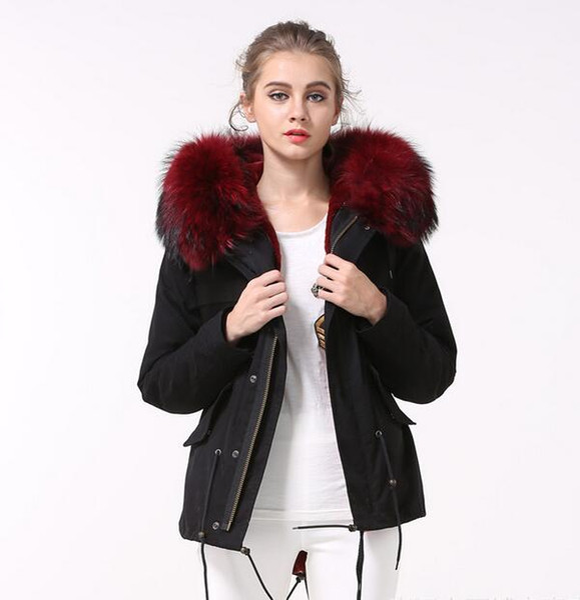 women fur jackets Meifeng brand Wine red raccoon fur trim snow coats wine red rabbit fur lining black mini parkas