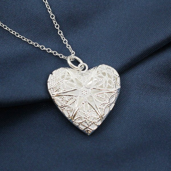 Valentine Lover Gift Hollow Out Photo Frames Can Open Locket Necklaces Heart Pendant Necklace drop ship