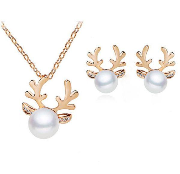 Nuovo set Antler europeo e americano venduto tramite orecchini con collana di perle set all'ingrosso di gioielli regalo di Natale