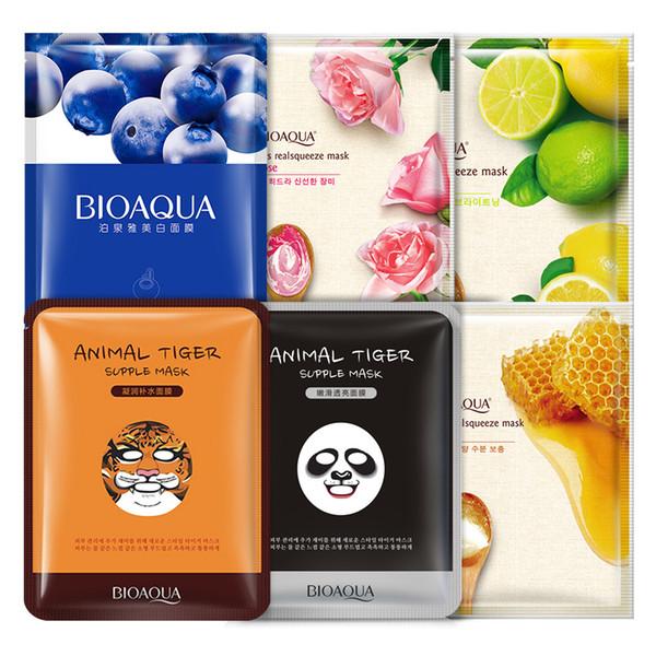 BIOAQUA Oil Control Mascarilla Facial Envuelta Hidratante Mascarilla Facial Blueberry Rose Extracto de Miel de Limón Cuidado Facial