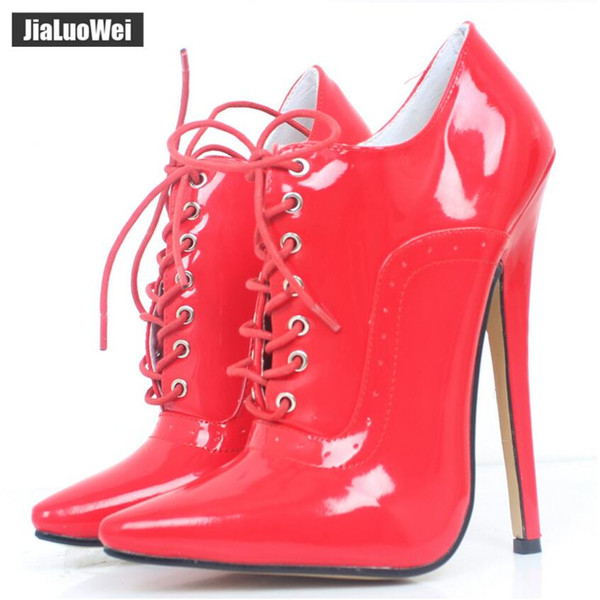 7acd1a65360 Red Women 18cm/7 Extreme High Heels Man Sexy Fetish Pointed Toe Stiletto  Shoes Lace Up Oxfords Leather Office Career Party Shoe Lady Pumps Hiking ...