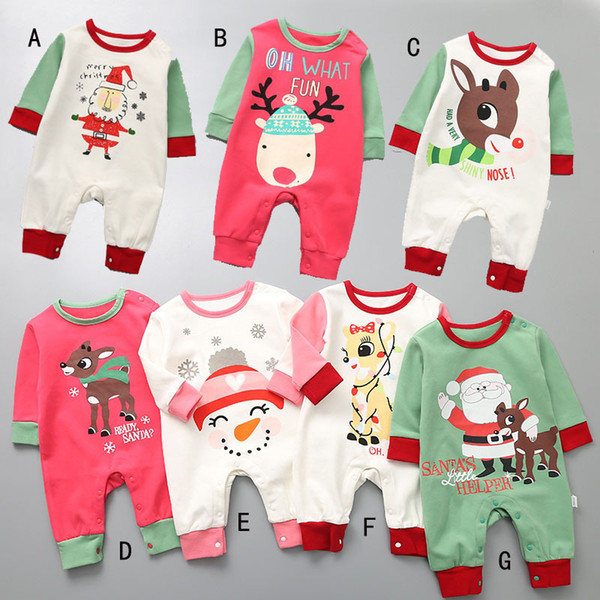 baby boy girl clothing Christmas Design romper long sleeve Santa Claus Deer Snowman romper clothes
