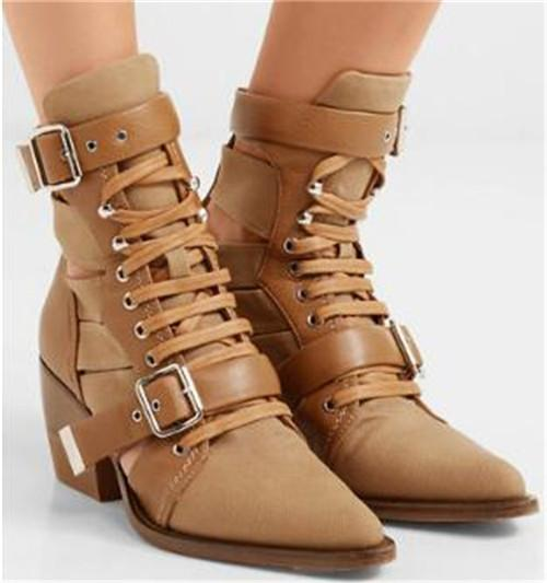 New Design Women Fashion Pointed Toe Cut-out Buckle Chunky Heel Short Boots Black Blue Martin Knight Boots Ankle Booties